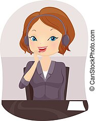 Girl Front Desk Attendant Call - Illustration of a Front...