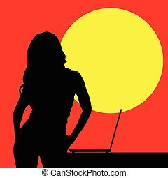 girl front of laptop silhouette illustration