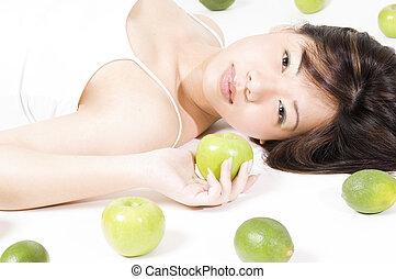 girl, fruit, 3