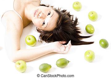 girl, fruit, 4