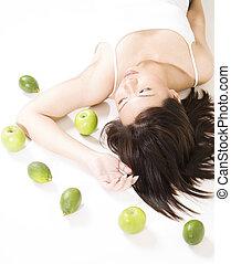 girl, fruit, 6