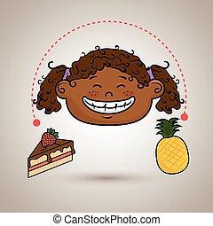 girl fruit cake dessert