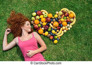 girl, fruit