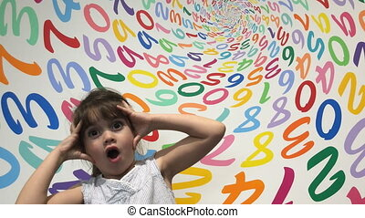 Girl frustrated with arithmetic - Little girl frustrated...