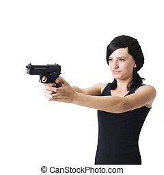 girl, fusil