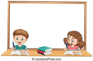 girl, garçon, étudier, wihteboard, copyspace