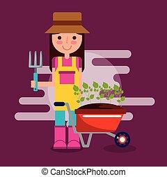 girl gardener farm