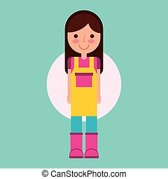 girl gardener farm with apron and boots