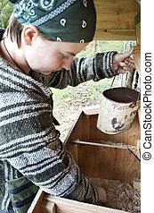 Girl Gathering Organic Eggs Laid