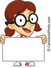 Clipart Picture of a Girl Geek Cartoon Character Holding a Sign
