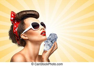 girl., gelado, pinup