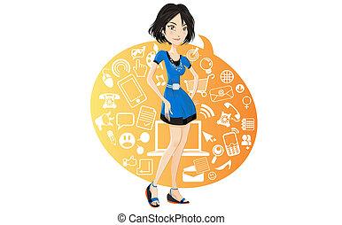 girl, gestion réseau, social