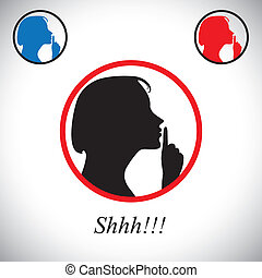 girl gesturing silence saying shh using her hand - concept vector. This graphic contains a young woman raising her forefinger to her lips indicating to stop talking, making noise & to be silent