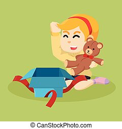 girl get teddy bear for her gift