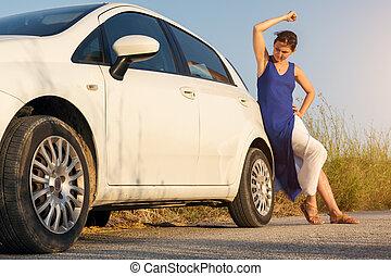 girl gets pissed at his broken car