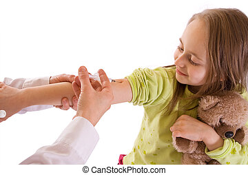 Girl getting an injection