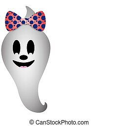 Girl Ghost - Girl ghost with orange and blue polka dot bow