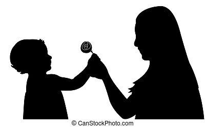 girl giving flower to her mom