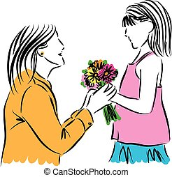 girl giving flowers to her mother illustration.eps - girl...