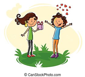 Girl giving gift to boy for Valentine's Day