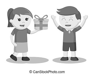 Girl giving gift to boy