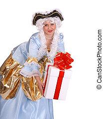 Girl giving shopping bag. - Girl in carnival costume giving...