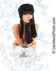 girl, glitterball, flocons neige
