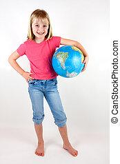 girl, globe