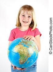 girl, globe, tenue