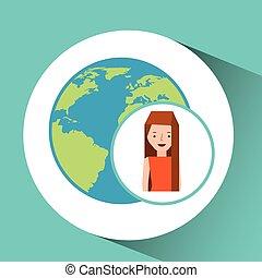 girl globe world tourist traveler