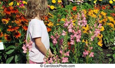 girl goes among set of flowers in garden examines