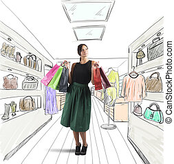 Girl goes shopping in her favorite store