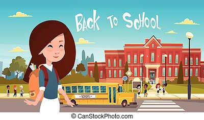 Girl Going Back To School Over Group Of Pupils Walking From Yellow Bus Primary Schoolchildren Students