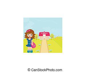 girl going to school
