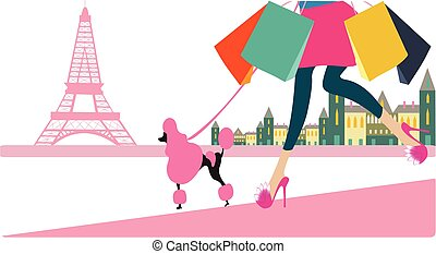 girl going to shopping in Paris