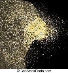 Girl gold glitter art concept symbol illustration