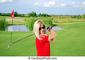 girl golf player portarit
