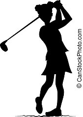 Silhouette vector illustration of a young girl golfing. She if looking down the fairway after she has swung.