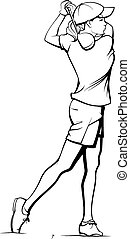 Girl Golfer Teeing Off - A girl golfing in black and white.