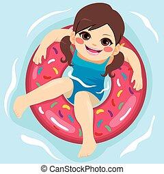 girl, gonflable, piscine