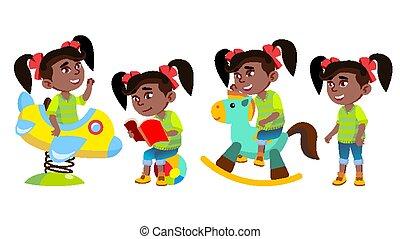 girl, gosse, black., publicité, impression, affiche, child., design., isolé, illustration, amusement, playground., american., jardin enfants, dessin animé, toy., vector., afro, peu, avoir, ensemble, poses, rigolote