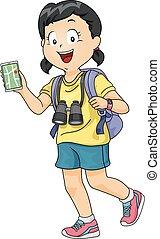 girl, gosse, gadget, explorateur