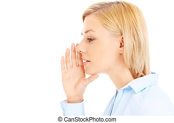 Girl gossiping - Picture of young woman gossiping over white...