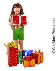 Girl got a lot of gifts for holiday