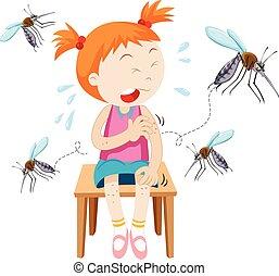 Girl got bitten by mosquitoes illustration