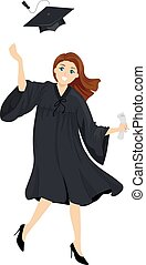 Girl Graduate - Illustration of a Girl wearing Academic...