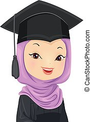Girl Graduation Muslim Illustration