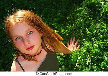 Girl grass