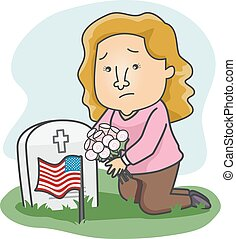 Girl Grave Memorial Day Flowers Illustration