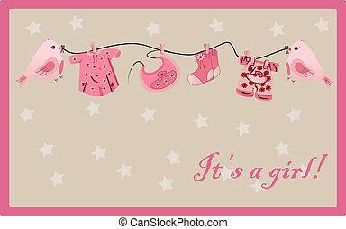 girl greeting card vector